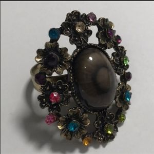 Costume Ring with Multicolored Rhinestones